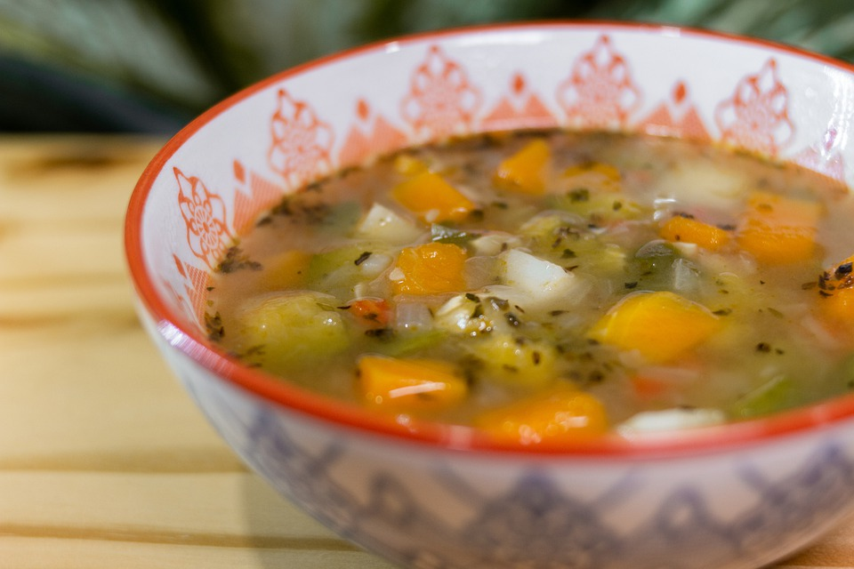 Healthy Vegetable Lunch Soup Vegetables Table